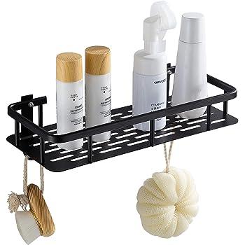 Hoomtaook Estante Ducha Cesta de Ducha Estante de Rectangular Almacenaje para baño Cocina Bandeja de Ducha Adhesiva con Aluminio Instalación sin Clavos sin Taladro Negro