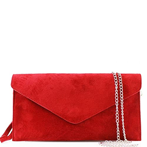 bc4c7c9365 Clicktostyle Women Real Italian Suede Leather Fancy Clutch Party Prom Bags  With Chain Straps