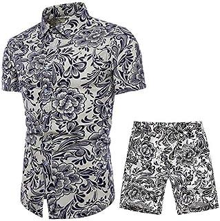 Men Short Sleeve Shirt Hawaii Beach Shirt Set Fashion Casual Wild Print Shirt