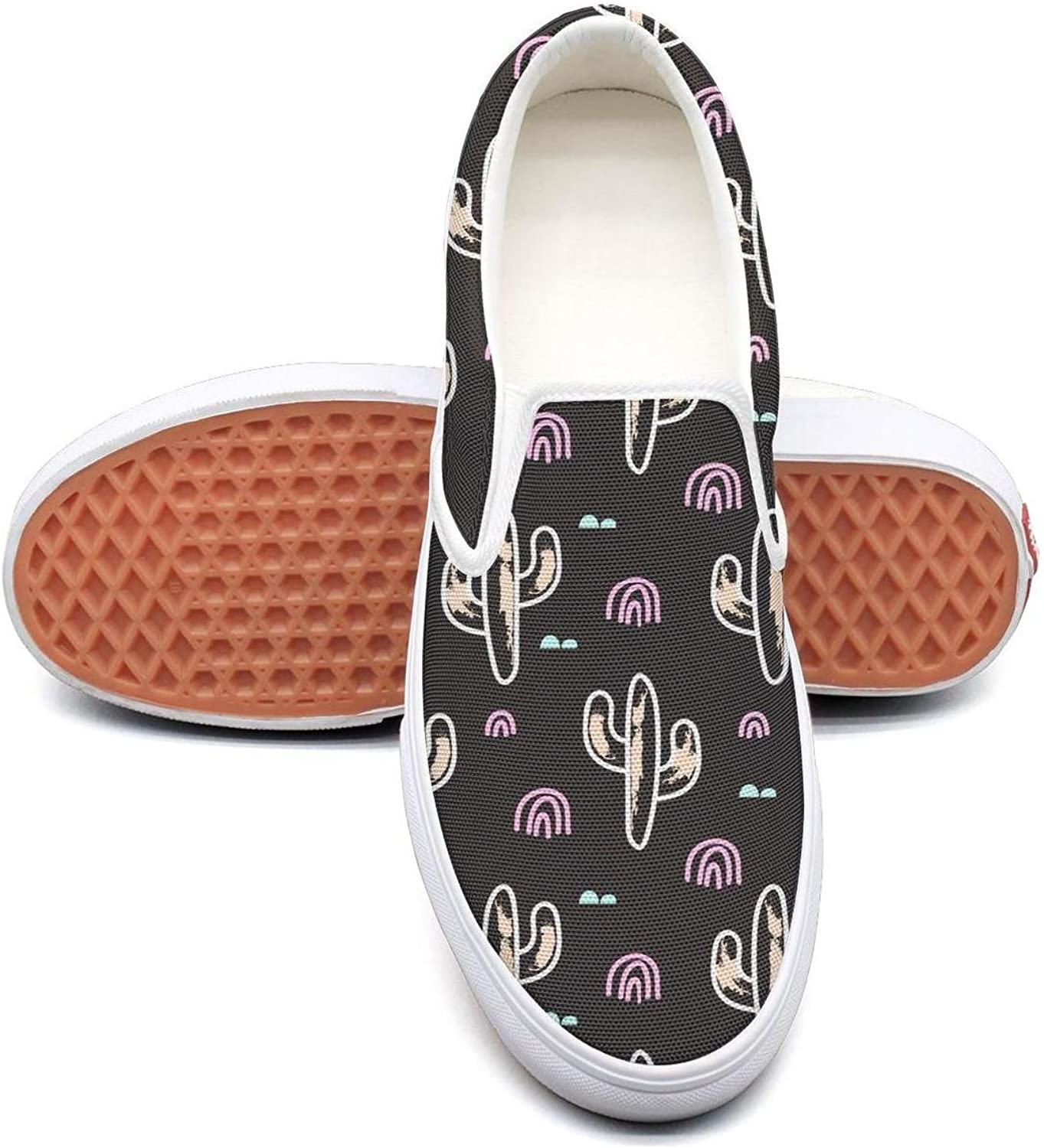 Cactus Pattern Slip on Superior Comfort Loafers Canvas shoes for Women Round Toe
