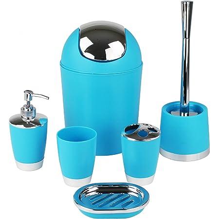 GMMH 6Pièces Salle de Bain Accessoire Set Distributeur de Savon Support Brosse WC de Salle de Bain Bleu Ciel