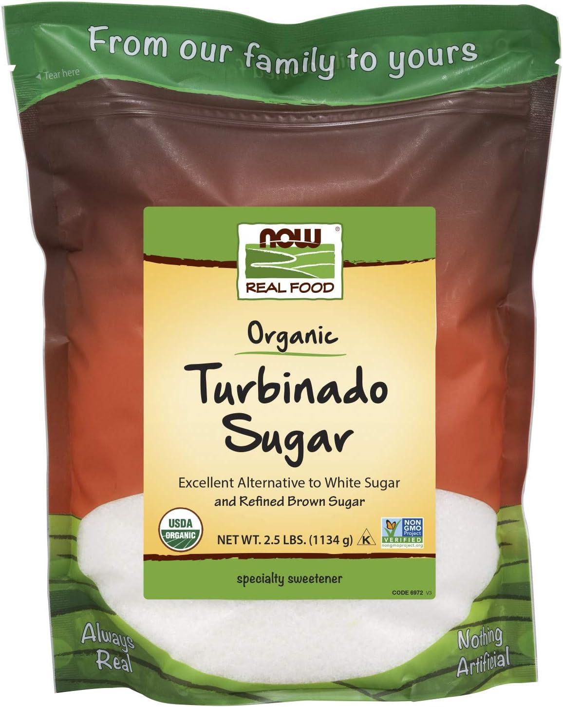 NOW Foods Organic Turbinado Sugar, 2.5-Pound (Pack of 2)