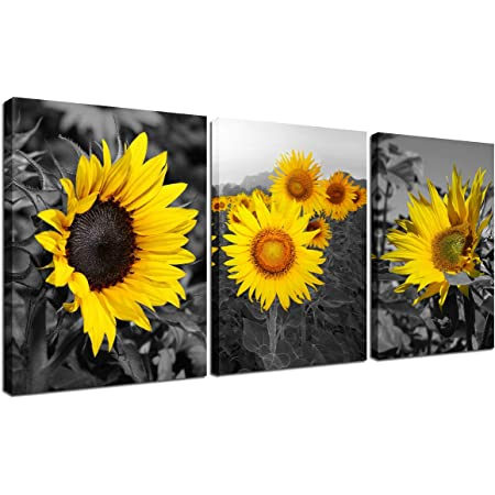 Amazon Com Canvas Wall Art Sunflower Painting Rustic Home Decorations For Living Room Decor Black Whtie Yellow Flower Picture Frame Floral Landscape 3 Piece Kitchen Artwork Giclee Print Ready To Hang