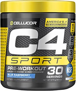 C4 Sport Pre Workout Powder Blue Raspberry | NSF Certified for Sport + Preworkout Energy Supplement for Men & Women | 135m...