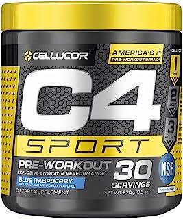 C4 Sport Pre Workout Powder Blue Raspberry | NSF Certified for Sport + Preworkout Energy Supplement for Men & Women | 135m...