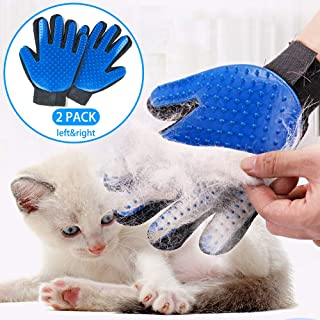 StarRoad Pet Grooming Glove Hair Remover Brush Gentle Deshedding Efficient Pet Mitt Pet Massage Gloves Left & Right Hand Draw Dogs Cats Horses Long Short Fur (1Pair left & right hand (Blue ))