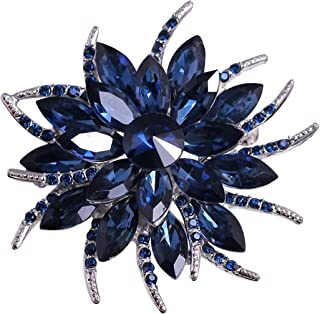 Merdia Flower Brooches Pin for Women Brides Created Crystal Brooch Blue
