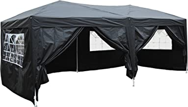 Outsunny 6m x 3m Garden Heavy Duty Pop Up Gazebo Marquee Party Tent Wedding Water Resistant Awning Canopy (Black) With free Storage Bag