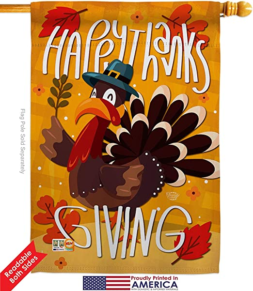Amazon Com Ornament Collection H192043 Bo Happy Thanksgiving Turkey Fall Thanksgiving Impressions Decorative Vertical 28 X 40 Double Sided House Flag Printed In Usa Multi Color Garden Outdoor