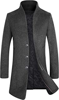 Men's Winter Wool Blend Trench Coat Fleece Lining Top Coat Business Suits