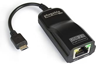 Plugable USB 2.0 OTG Micro-B to 100Mbps Fast Ethernet Adapter Compatible with Windows Tablets, Raspberry Pi Zero, and Some Android Devices (ASIX AX88772A chipset).
