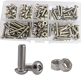 Hex Button Head Socket Cap Screw Wood Metric Hexagon Metal Allen Driver Machine Bolts Nut Standard Fastener Hardware Assorted Assortment Kit Set 170Pcs 304 Stainless Steel M4