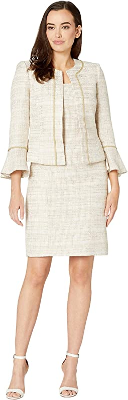 Boucle Skirt Suit with Open Jacket