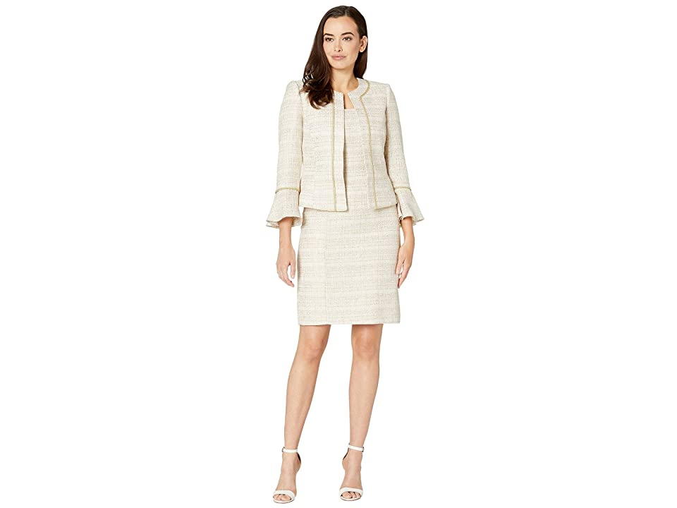 600a99288069 Tahari by ASL Boucle Skirt Suit with Open Jacket (Ivory White/Gold) Women's