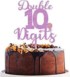Double Digits 10th Cake Topper, 10th Birthday Cake Decor, Boys Girls Cheers to 10 Years Old , 10th Birthday/Anniversary Party Decoration Supplies Rose Gold
