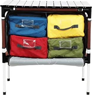 PORTAL Multifunctional Folding Camp Table Aluminum Lightweight Picnic Organizer with Large Zippered Compartment Contains Four Cooler Storage Bags for BBQ, Party, Camping, Kitchen (Renewed)
