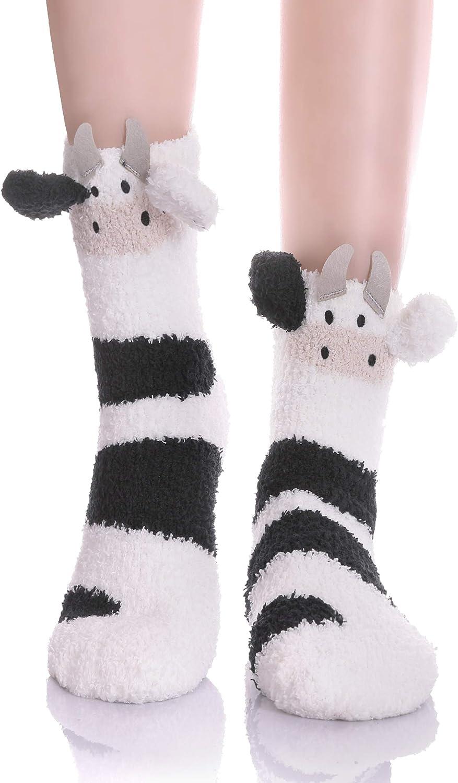 YEBING Women Girls Super Soft Fuzzy 3D Cute Animal Cartoon Winter Warm Slipper Socks