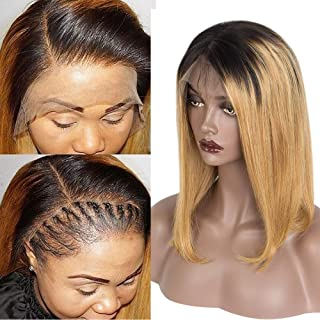 Riya 8A Ombre Color 13x6 Brazilian Remy Hair Straight Short Bob Human Hair Wigs Glueless Lace Front Wigs for Women 150% Density (12inch, 1b/#27)