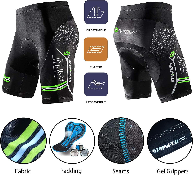 sponeed Mens Cycling Padded Shorts Men Bike Short Pants Cycle Spandex Tights Biking Wear
