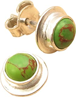 3/8 Inches Luxury STUD Earrings, GREEN COPPER TURQUOISE Silver Plated Jewelry