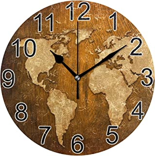 Joysay World Map Vintage Artwork Round Wall Clock Silent Non Ticking Decorative Wall Clock Battery Operated Home Office Art Clock