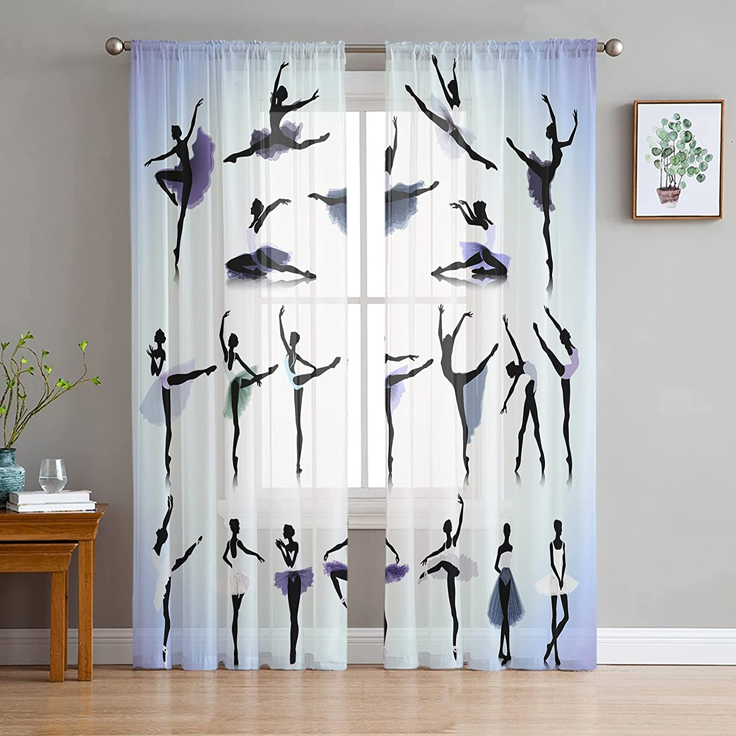 FAMILYDECOR Sheer Curtains Popular shop is the lowest price challenge 96 inches Long Voile W Grommet Max 71% OFF Drapes