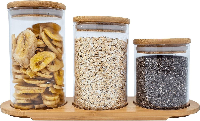3 Piece Bamboo Airtight Glass Jar Set for Organizer Bat お得クーポン発行中 Kitchen 格安