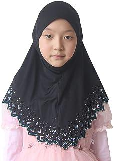 Modest Beauty Girls/Children Hijab Scarf Headscarf Wrap one Piece Muslim Amira with Czech Drill
