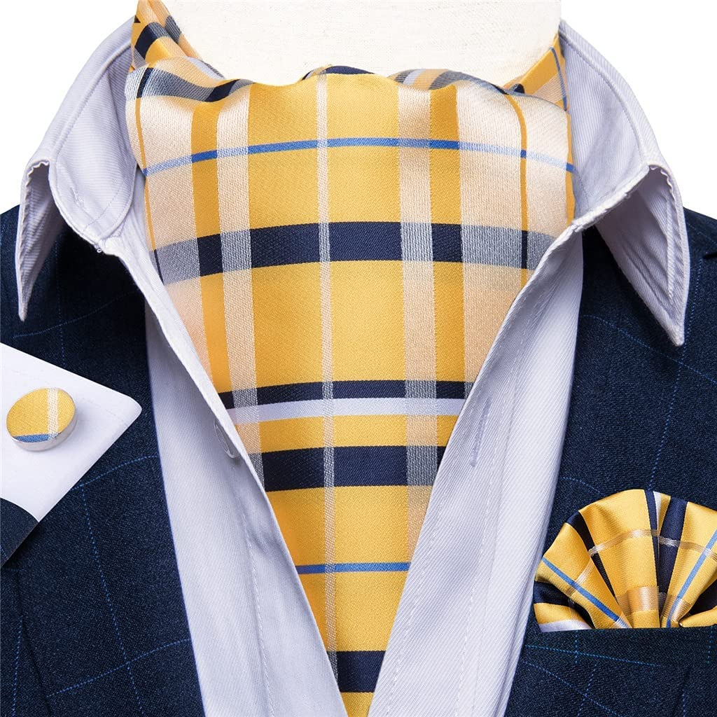 ZYKBB Men Vintage Yellow Check Striped Wedding Formal Cravat British Silk Tie Pocket Square Cufflinks Set (Color : Yellow, Size : One size)