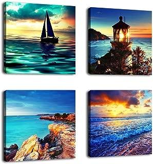 Canvas Wall Art Ocean Sunset Beach Pictures 12