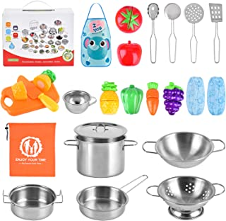 BGdoyz Kitchen Pretend Play Toys with Stainless Steel Cookware Pots and Pans Set, Cooking Utensils, Apron & Sleeve, Cutting Vegetables for Kids, Boys, Girls and Toddler Gifts Educational Learning Tool
