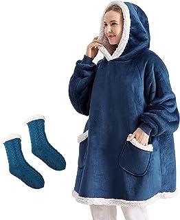 هوديي بطانية بطانية هوديي للحفاظ على بطانية دافئة ومقاومة للاهتراء،المخملية المتضخم،ومناسبة للمراهقين والبالغين مع الجوارب...