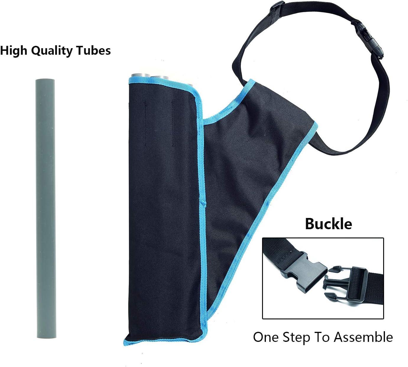 AUMTISC Tiro con Arco 3-Tubes Hip Arrow Quiver Ri/ñonera Bolsa de Transporte con Sistema Molle y Bolsillos para pr/áctica de Tiro al Blanco de Caza