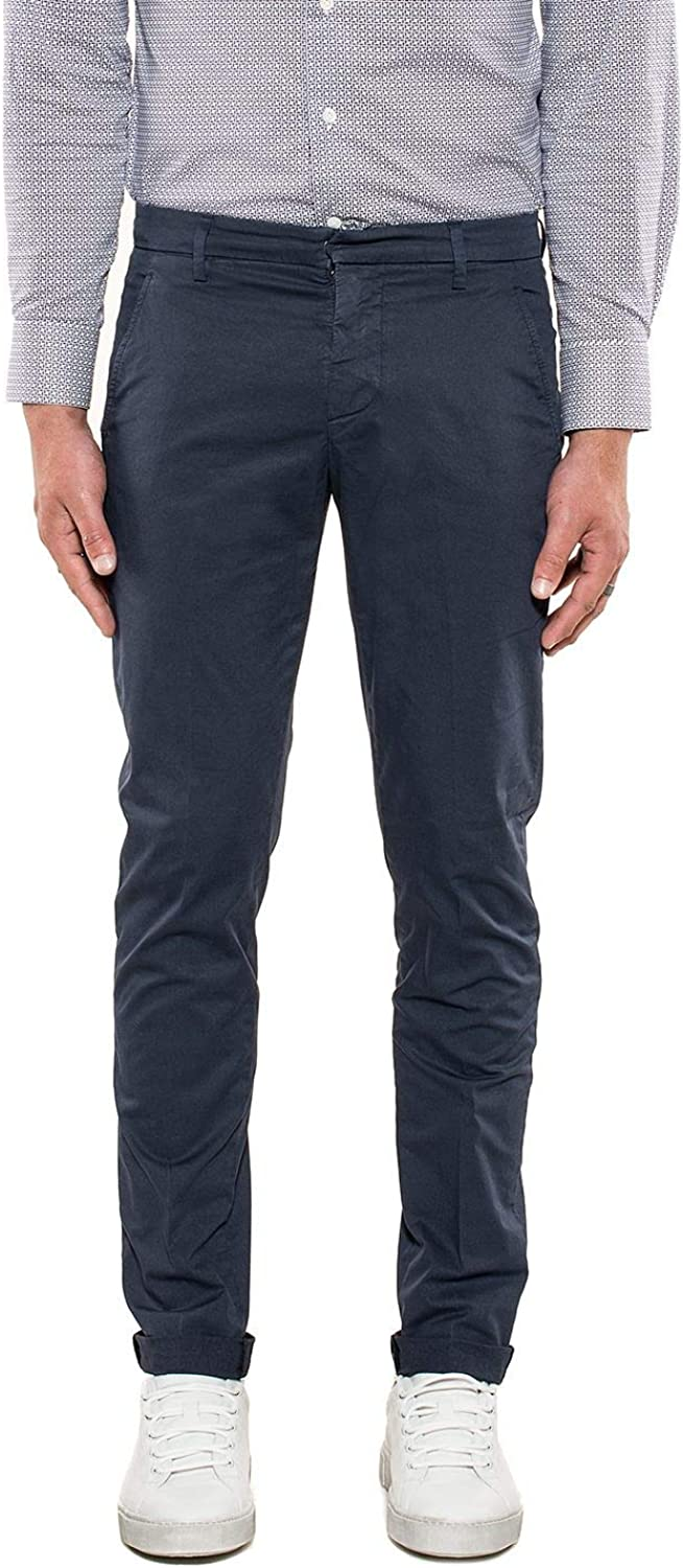 DONDUP Men's UP235GS021U897 blueee Cotton Pants