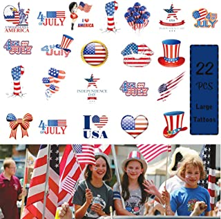 4th of July Temporary Tattoo American Independence Day Tattoo Sticker Festival Party Waterproof Clover Decor
