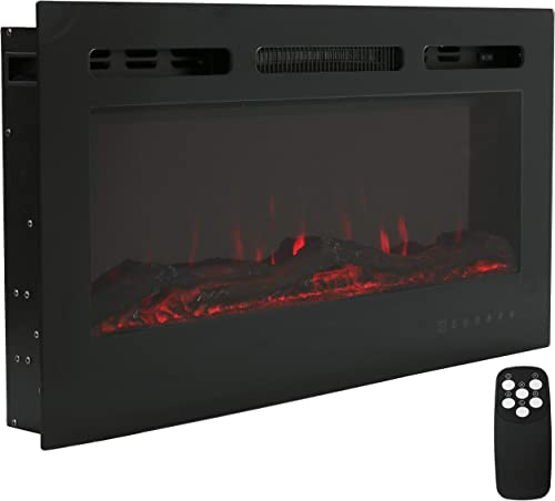 new arrival Sunnydaze Modern Flame 36-Inch Mounted Indoor Electric Fireplace - Horizontal LED Electronic Fireplace - Wall-Mounted outlet online sale or Recessed Installation - 9 Color Options for Flames - Black outlet online sale Finish sale