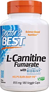 Doctor's Best Best L-Carnitine Fumarate Featuring Sigma Tau Carnitine (855 Mg) Vegetable Capsules, 180-Count