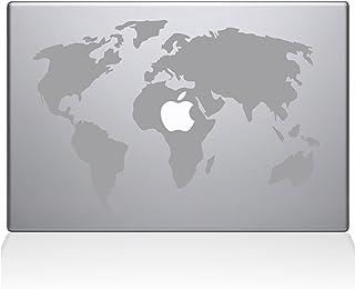 ملصق مائي من الفينيل على شكل خريطة العالم Guru 0194-MAC-13P-S مقاس 13 بوصة ماك بوك برو (2015 وأعلى)، فضي