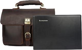 Men's Crossbody Business Bag Crazy Horseskin Retro Handbag Briefcase First Layer Leather Shoulder Bag (Color : Brown, Size : M)