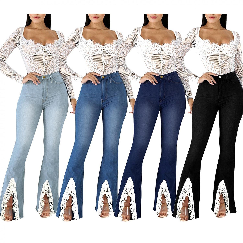 Padaleks Women's Plus Size Stretch High Waist Denim Jeans Pants Skinny Slim Tassels Flare Hem Jean Trousers