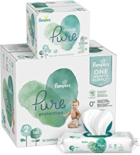 Diapers Size 2, 186 Count and Baby Wipes - Pampers Pure Protection Diapers Disposable Baby Diapers and Aqua Pure 6X Pop-Top Sensitive Water Baby Wipes, 336 Count