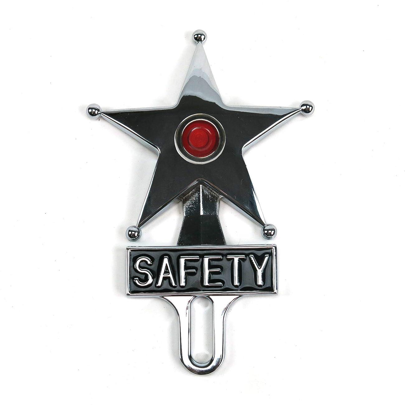 Vintage Parts 701964 Chromed License Plate (Topper Red LED Illumination, Hot Rod Jewel Safety Star)