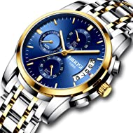 Men's Watches Chronograph Quartz Wristwatches for Men Stainless Steel Fashion Casual Calendar...
