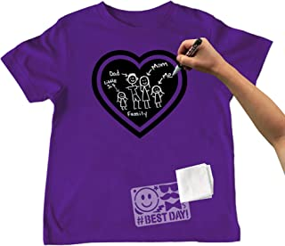 Chalk of the Town Chalkboard T-Shirt Kit for Kids - Short Sleeve Purple Heart with 1 Chalk Marker and Stencil (Youth Extra-Small)