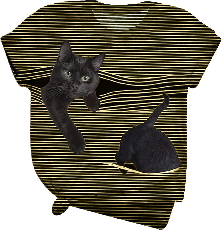 Summer Max 82% OFF Sacramento Mall Plus Size Shirts Tops for Women Short Fashion Slee O-Neck