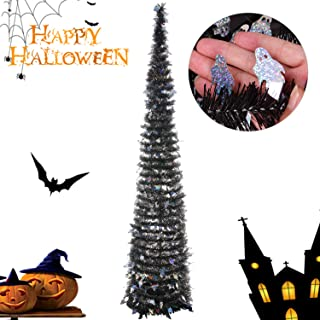 Joy&Leo 5 Foot Halloween Ghost Sequin Pop Up Black Tinsel Christmas Tree, Easy to Assemble and Store, for Small Spaces Apartment Fireplace Party Home Office Store Classroom Halloween Decorations