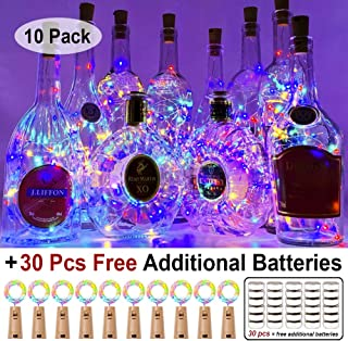MUMUXI 10 Pack 20 LED Wine Bottle Lights with Cork, 3.3ft Silver Wire Cork Lights Battery Operated Fairy Mini String Lights for Liquor Bottles Crafts Party Wedding Halloween Christmas Decor,Colorful