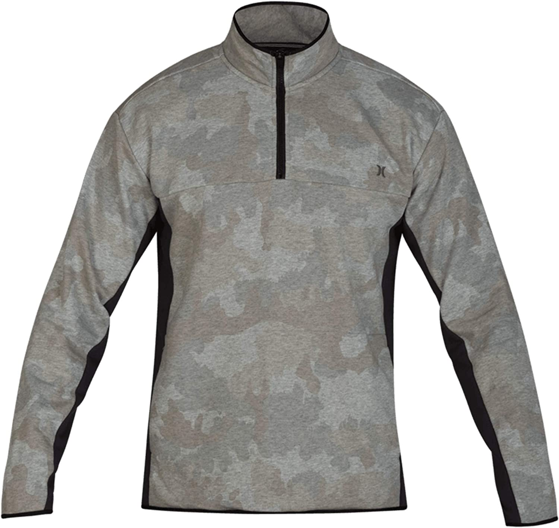 Hurley Clothing Men's Dri-Fit Naturals Track Quarter Zip Fleece, Camo Green (386), X-Large