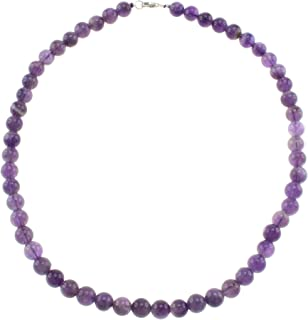 Natural Amethyst Round Beads Strand Necklace for Women Girls