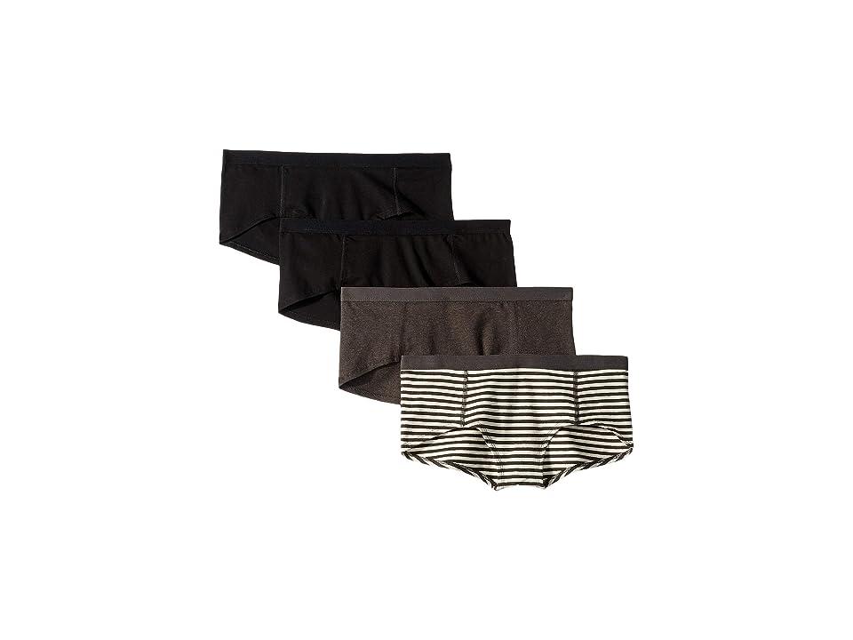 PACT Everyday Organic Cotton Boyshorts 4-Pack (Black/Charcoal Stripe/Charcoal Grey) Women
